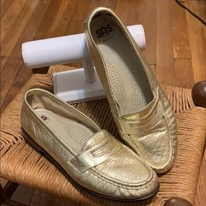 SAS Gold Metallic Loafer Slip on Shoes.